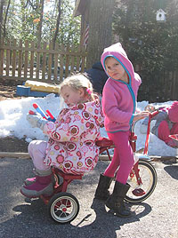 students on a trike